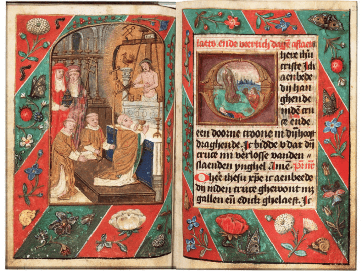 Full-page miniature depicting the Mass of Saint G, Ms. 71 G 53; see fig. 27. The edges of theÊAdoro teÊare heavily discolored