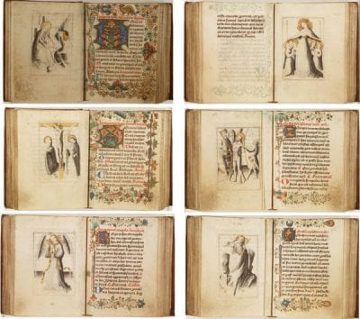Six openings from a book of hours made in three s, Koninklijke Bibliotheek, The Hague