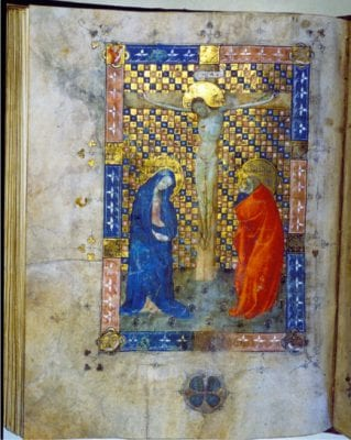 Canon page from a missal (fol. 149v), showing dam, ca. 1400-10, Stadsbibliotheek, Haarlem