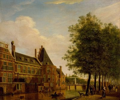 Jan (I) Ekels (1724–1781),  Musketeers Civic Guard Hall from the Amstel Rive,  1775, Amsterdam Museum