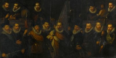 Paulus Moreelse,  Company of Captain Jacob Hoynck and Lieutenant N, 1616, Rijksmuseum, Amsterdam, on loan from the city of Amsterdam (SA 7373)