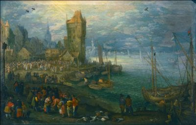 Jan Brueghel the Elder,  Fish Market in Front of a City on the Water, Staatliches Museum Schwerin