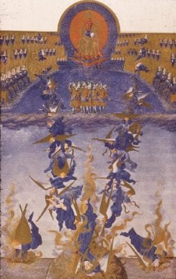 Limbourg Brothers,  Fall of the Rebel Angels (fol. 64v) from Très, Musée Condé, Chantilly