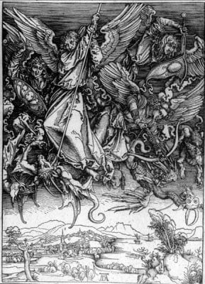 Albrecht Dürer,  Fall of the Rebel Angels, detail from Apocalyps, ca. 1498,