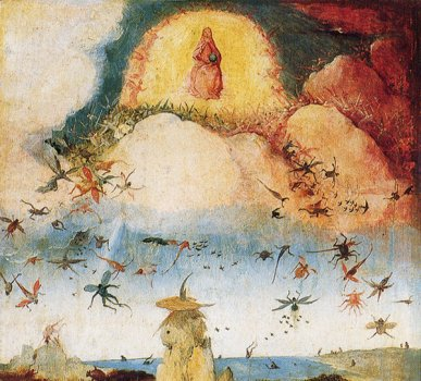 Jheronimus Bosch,  Fall of the Rebel Angels, detail from Garden of, Museo del Prado, Madrid