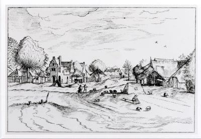 Johannes and Lucas van Doetecum after the Master of the Small Landscapes,  Landscape with View of a Village (from the seri, 1561,