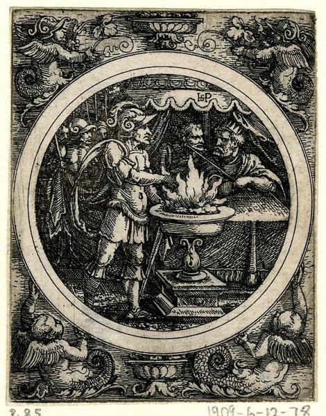 Sebald Beham,  Mucius Scaevola Holding His Hand in the Fire,  ca. 1520,  The British Museum, London