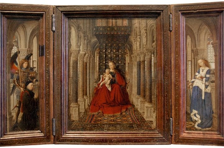 Jan van Eyck,  Virgin and Child with Saints Catherine and Micha, 1437, Gemäldegalerie Alte Meister, Staatliche Kunstsammlungen, Dresden