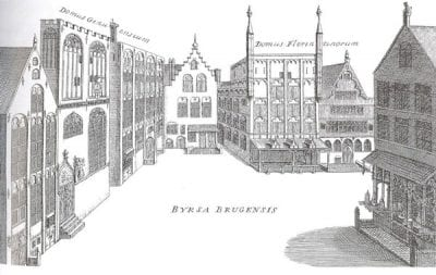 Fig. 4 Byrsa Brugensis, engraving, from Antonius Sanderus, Flandria Illustrata (Cologne, 1641). The bourse (Huize ter Buerze, established 1379) was situated at the top of the Vlamingstraat. The Genoese, Venetian, and Florentine communities established their trading houses in the vicinity (opposite and adjacent to the bourse).
