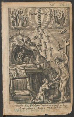 Title page from Adriaan Poirters,  Het duyfken in de steen-rotse (Amsterdam: Melch, 1657, Courtesy of Royal Library The Hague