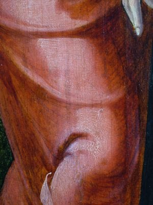 Fig. 13 Saint John's leg showing dry underdrawing visible through the red paint. Aertgen van Leyden, Raising of Lazarus, left interior wing.