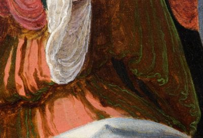 Fig. 22 Woman's dress showing a green-brown color combination with additional pink areas. Aertgen van Leyden, Raising of Lazarus, middle panel.