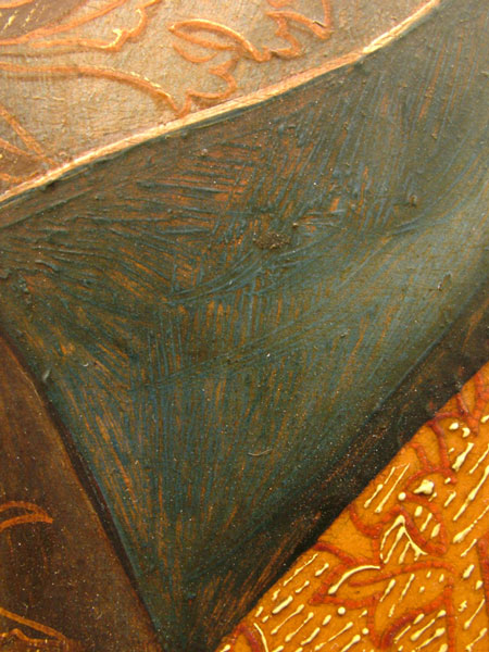 Fig. 31 Detail of a woman's skirt showing a warm underlayer beneath the blue. Cornelis Engebrechtsz, Crucifixion, middle panel.