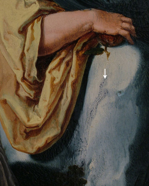 Fig. 36a Woman's skirt with arrow indicating a dark blue underlayer visible through the upper layers of paint. Lucas van Leyden, Dance around the Golden Calf, left interior wing.