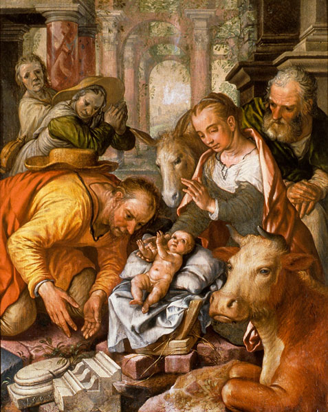 Joachim Beuckelaer, Adoration of the Shepherds, monogrammed and dated 1565,  Court-Saint-Etienne (Belgium), church of St. Etienne