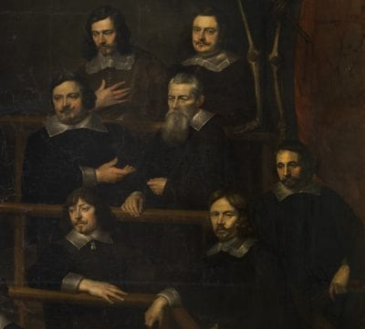 Frans Denys,  detail from The Anatomy Lesson of Dr. Joannes va, 1648,  Koninklijk Museum voor Schone Kunsten