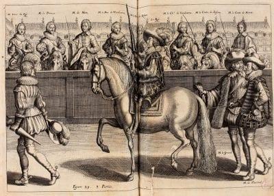 Antoine de Pluvinel, L'Instruction du Roy en l'exercice de monter à , 1625,