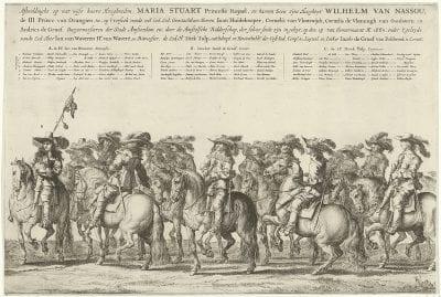 Salomon Saverij, Cavalcade Greeting the Entry into Amsterdam of Ma, 1660, Amsterdam, Rijksprentenkabinet