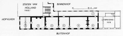 Fig. 4 Konrad Ottenheym, Reconstructed Plan of the First Floor of the Stadtholder's Quarter in the Mid-Seventeenth Century, 1993. Used with permission. (1) extension of 1632 (layout uncertain) (2) Mauritstoren (council chamber, later dining room) (3) salle de garde (4) antichambre (5) chambre-de-présence (6) room (7) gallery