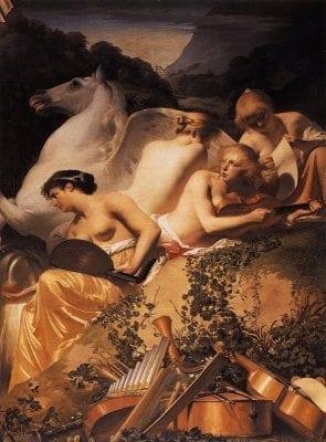 Caesar van Everdingen, Four Muses and Pegasus on Mount Parnassus, ca. 1650, The Hague, Huis ten Bosch Palace (artwork in the public domain)