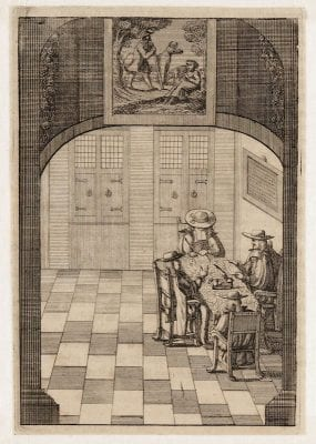 Anonymous engraver, Interior of the burgomasters' chamber (p. 378), , 1690,
