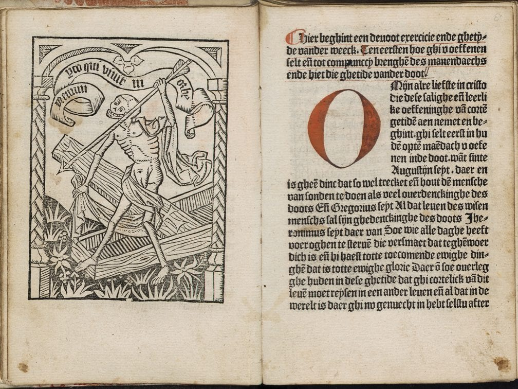 Start of the chapter for Monday (fols. a7v–a8r), 1484-1485,  University Library, Leiden