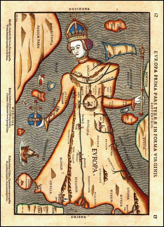 "Fig. 4 Sebastian Münster, ""Queen Europa,"" hand-colored engraving, fromCosmographia Universalis(Basel: I Oporini, 1588)."