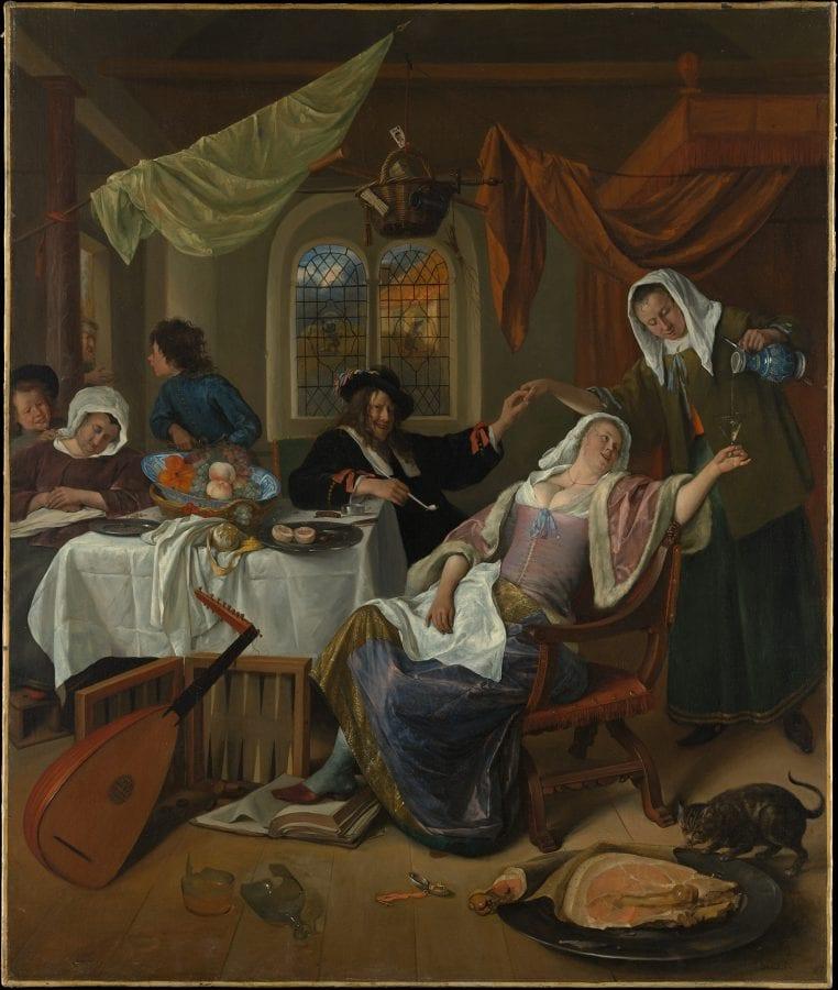 Jan Steen, Dissolute Household, ca. 1663–64, New York, The Metropolitan Museum of Art