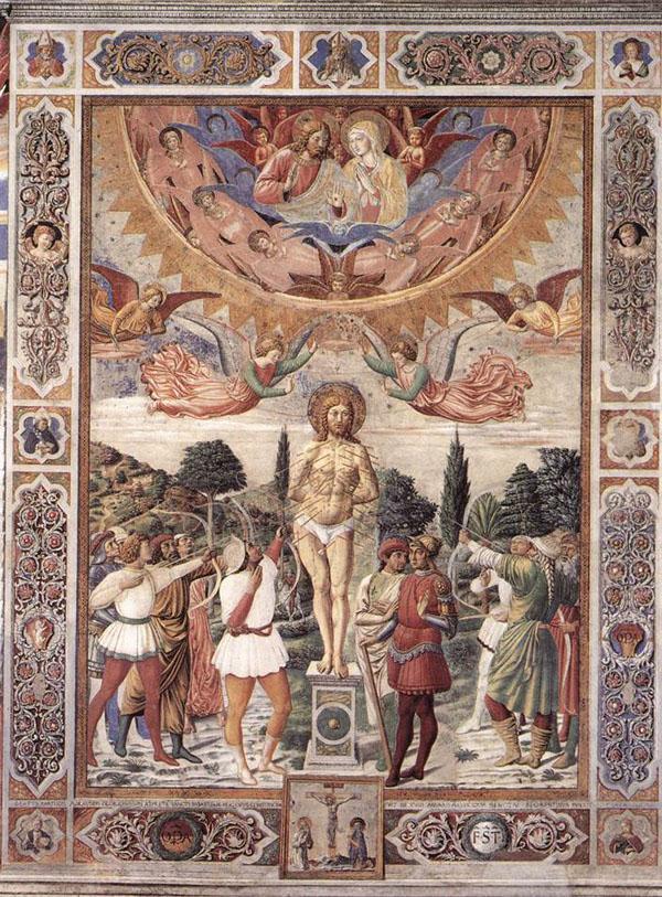 Benozzo Gozzoli,  Martyrdom of Saint Sebastian, 1465,  San Gimignano, Italy, Collegiate Church of Santa Maria Assunta
