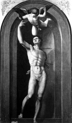 Attributed to Ezechia da Vezzano, Saint Sebastian with an Angel, ca. 1526–27, Fiesole, Italy, San Francesco
