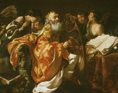 Hendrick ter Brugghen,  King David Playing His Harp Surrounded by Angels,  ca. 1628, Warsaw, Muzeum Narodowe