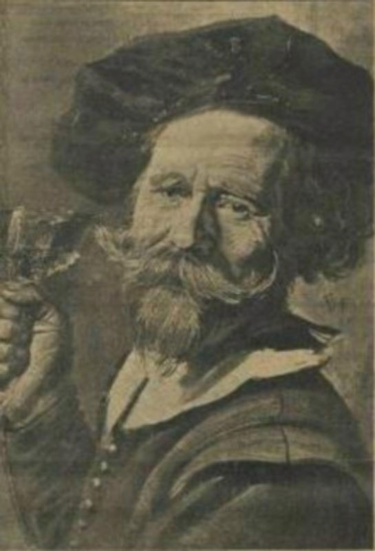 Fig. 8 Old photo ofPortrait of a Man with a Cow's Jawbone in His Handwhen it was still known asMan with a Wine Glass(before and after photos published in an article in theSumatra Postin 1928).