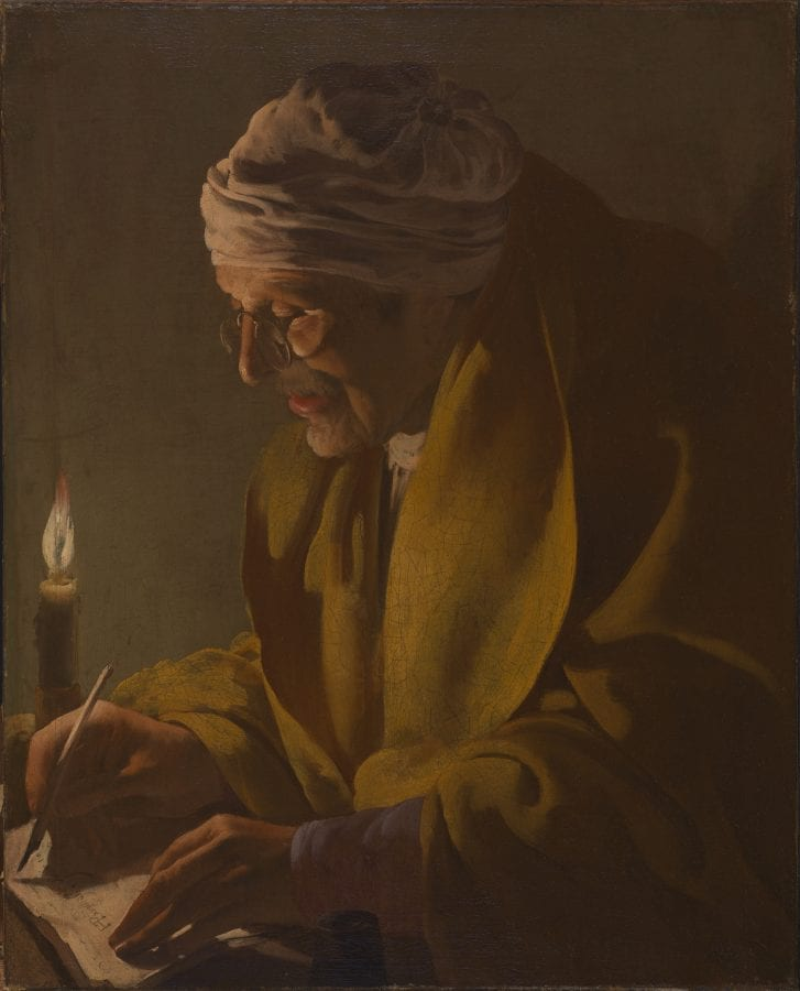 Hendrick ter Brugghen,  Man Writing by Candlelight, ca. 1627–29, Northampton, Mass., Smith College Museum of Art