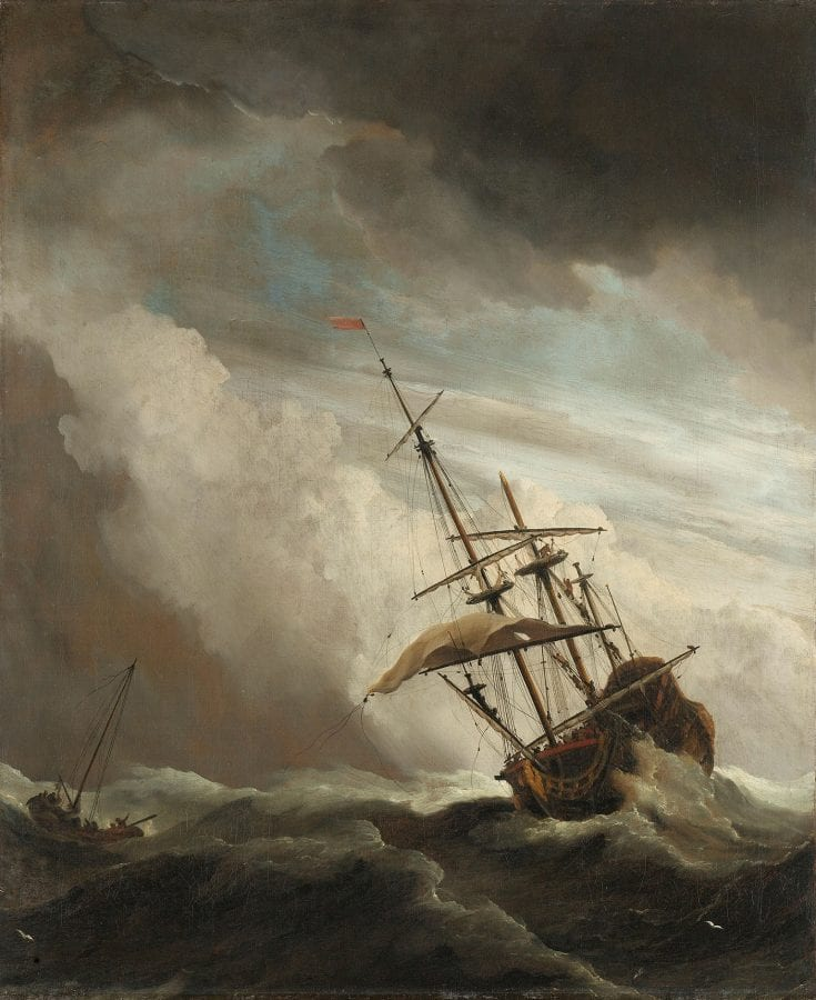 Willem van de Velde (II), A Ship on the High Seas Caught by a Squall, known as 'The Gust', ca. 1680, Rijksmuseum, Amsterdam