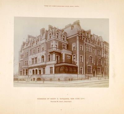 Richard Morris Hunt (1827–1895), Marquand residence, Madison Avenue and Sixty-Eigh, completed 1884; demolished 1912.,