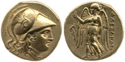 Greek coin with the head of Athena (obverse) and , ca. 310–275 BCE, London, British Museum