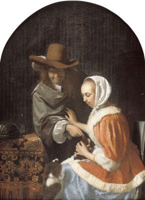 """Frans van Mieris, Man and a Woman with Two Dogs,known as""""Tea, 1660, The Hague, Royal Picture Gallery Mauritshuis"""