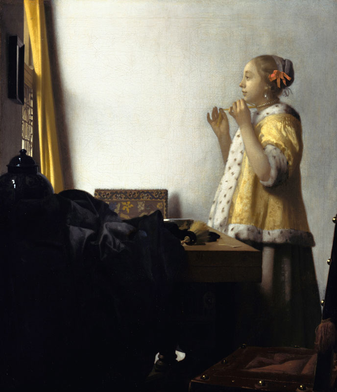Johannes Vermeer,  Woman with a Pearl Necklace, 1661–63, Berlin, Staatliche Museen, Gemäldegalerie