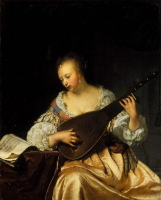 Frans van Mieris,  Woman Playing a Theorbo-Lute, 1663, Edinburgh, National Gallery of Scotland