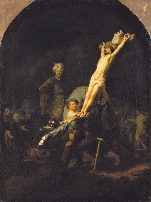 Rembrandt,  The Raising of the Cross,  ca. 1633,  Munich, Alte Pinakothek