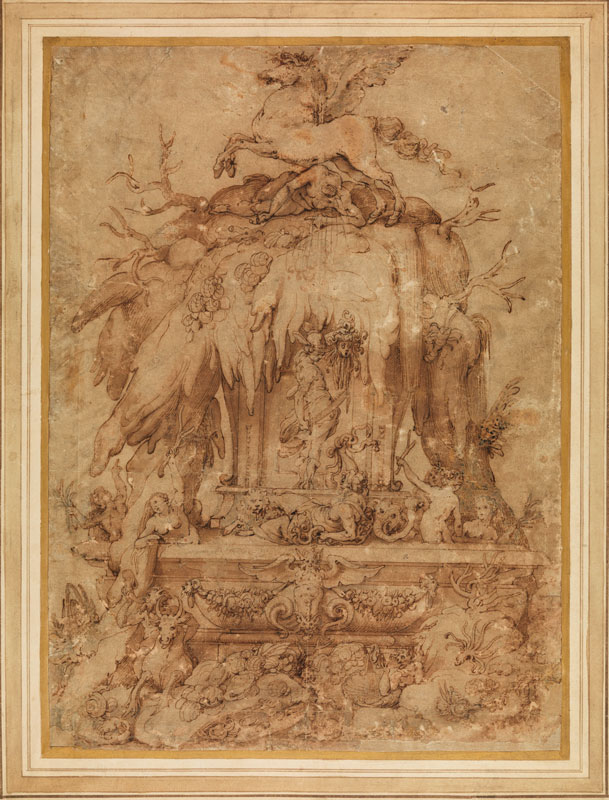 Attributed to Jacopo Zucchi (1540–1595/6),  Design for a Fountain with Perseus Killing Medus,  ca. 1600,  Paris, Musée du Louvre, Cabinet des Estampes