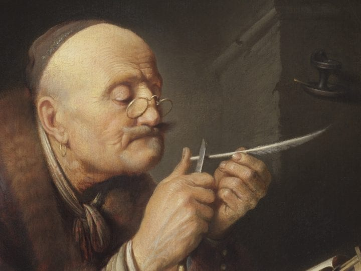 Gerrit Dou,  Scholar Sharpening a Quill, ca. 1630–35, The Leiden Collection, New York