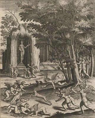 """""""Les Amours"""" (p. 41), from Philostratus,Les, Amsterdam, Rijksmuseum"""