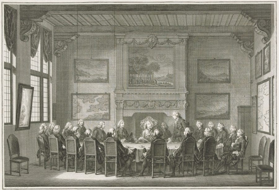 Simon Fokke, Willem V Taking His Position as Director of the V, 1769–73, Amsterdam, Rijksmuseum