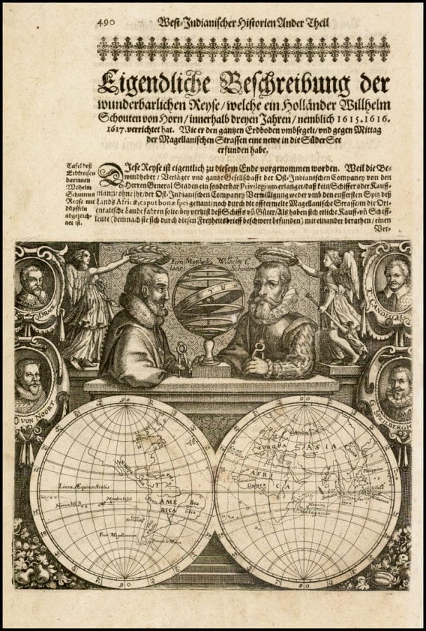 Double Hemisphere Map with Portraits of Magellan,,