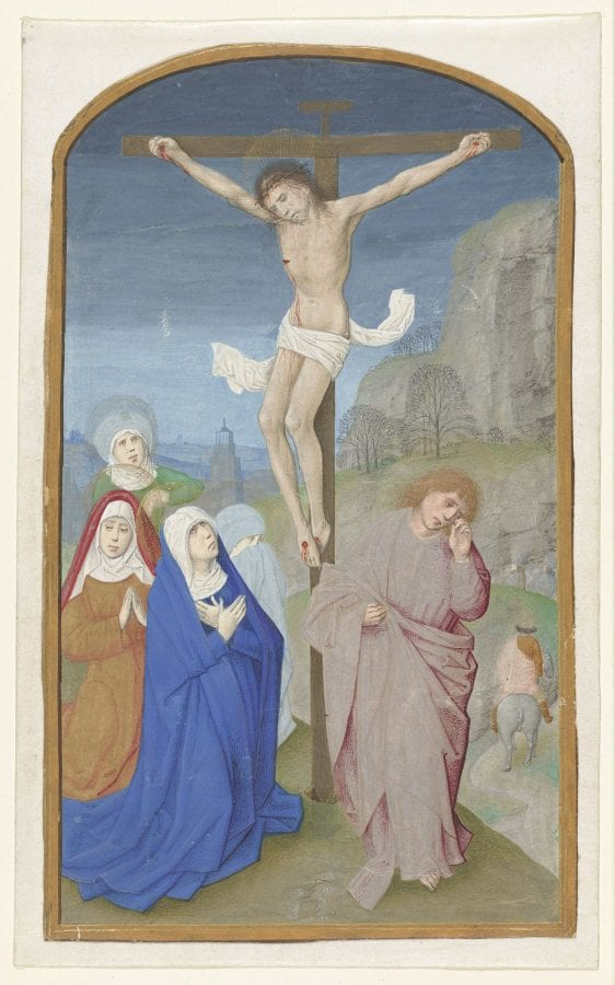 Master of the First Prayer Book of Maximilian and/or workshop, The Crucifixion, cutting from the Hours of Louis , ca. 1490–95, Amsterdam, Rijksmuseum, Rijksprentenkabinet