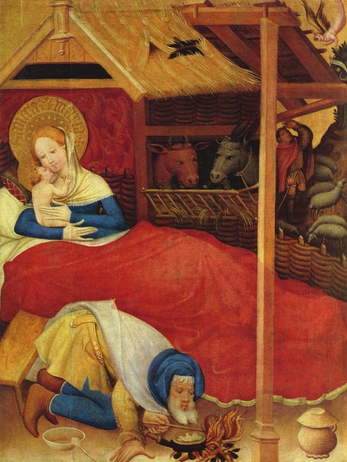 Conrad von Soest; Nativity; detail of the Wildunger Altar; 1403; tempera on wood; 188 x 152 cm.; Bad Wildungen, Germany, Evangelische Stadtkirche