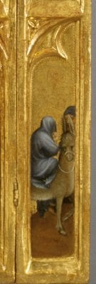Mosan/South Netherlandish artist; Flight into Egypt; detail of a tabernacle; ca. 1395–1400; tempera on gilded oak; 137 x 47.5 cm (overall).; Antwerp, Mayer van den Bergh Museum; inv. MMB.0002