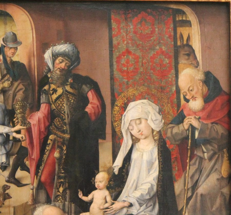 Master of the Saint Bartholomew Altarpiece; Adoration of the Magi; detail; ca. 1500; oil on panel; 80.3 x 65.7 cm (overall).; Munich, Alte Pinakothek; inv. 10651