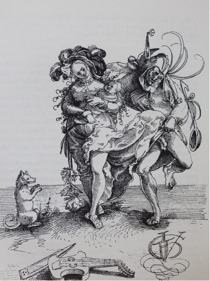 Urs Graf;  Lustful Old Fool and Woman with Baby: Allegory of Fiddling;  early 16th century;  drawing.;  Basel, Offentliche Kunstsammlung, Kupferstichkabinett;  inv. U.X. 108